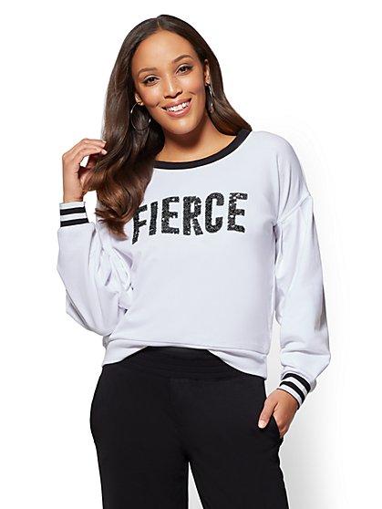 "Soho Street - Sequin ""Fierce"" Sweatshirt - New York & Company"