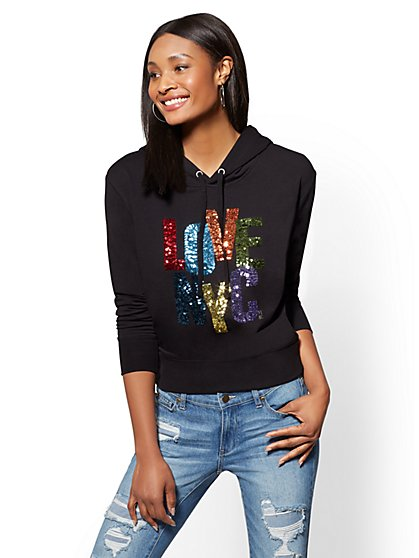 "Soho Street - Sequin ""Love NYC"" Hooded Sweatshirt - New York & Company"