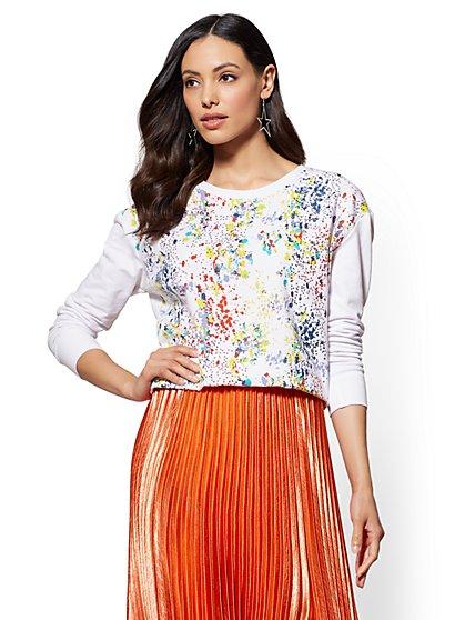 Soho Street - Sequin Paint-Splatter Sweatshirt - New York & Company