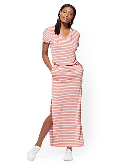 Soho Street - Striped Hooded V-Neck Maxi Dress - New York & Company