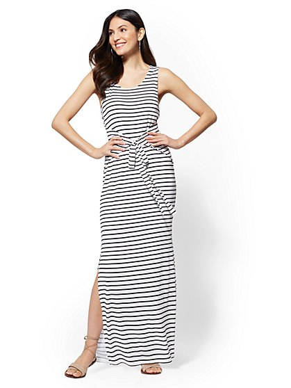 Soho Street - Striped Tie-Front Maxi Dress - New York & Company