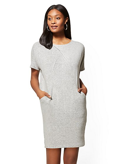 Soho Street - Super-Soft Knit Crossover Shift Dress - New York & Company
