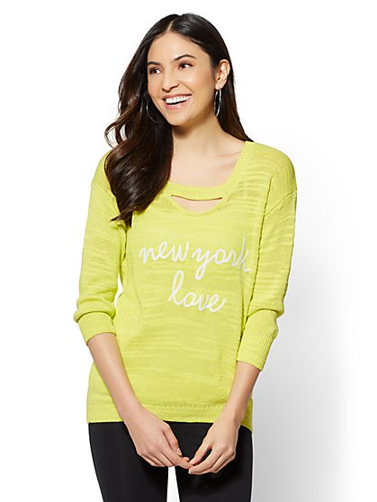 "Soho Street - Yellow ""New York Love"" Cutout-Detail Sweater - New York & Company"