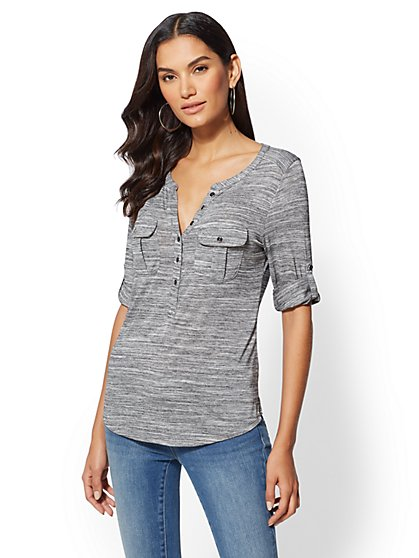 Space-Dye Henley Top - New York & Company
