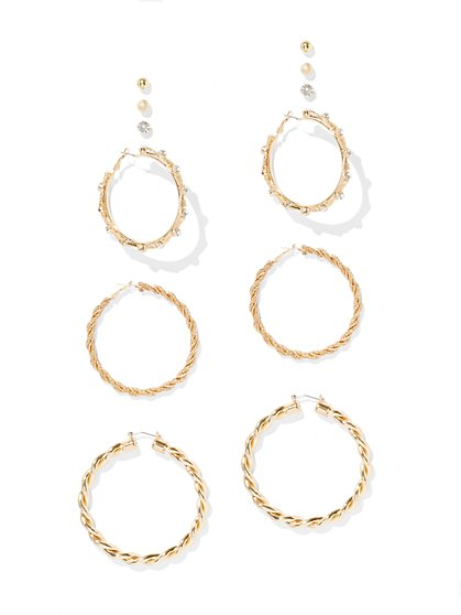 Sparkling 6-Piece Hoop & Post Earring Set - New York & Company