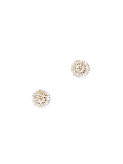 Sparkling Faux-Pearl Post Earring - New York & Company