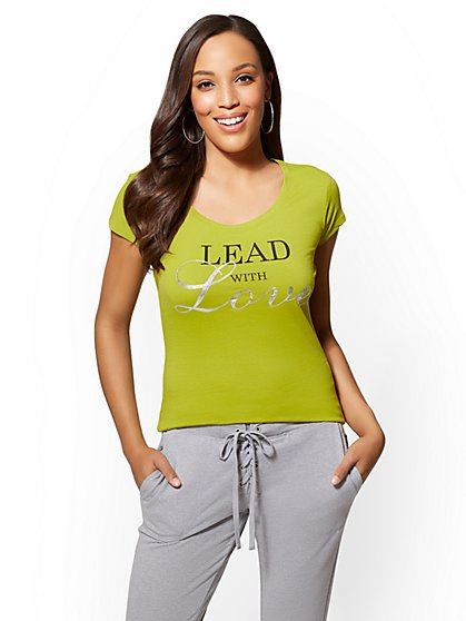 """Sparkling """"Lead With Love"""" Graphic Logo Tee - New York & Company"""