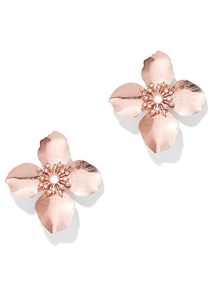 NY Deal Sparkling Rose Goldtone Floral Post Earring