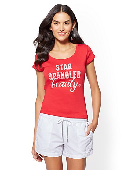 "Sparkling ""Star-Spangled Beauty"" Graphic Logo Tee - New York & Company"