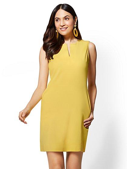 Split-Neck Cotton Shift Dress - New York & Company