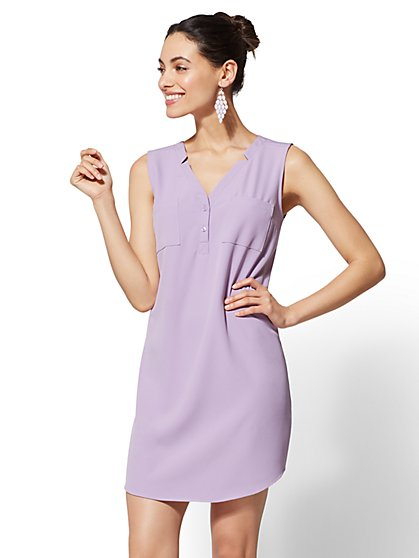 Split-Neck Shirtdress - New York & Company