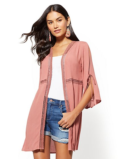 Split-Sleeve Crochet-Trim Kimono Jacket - New York & Company