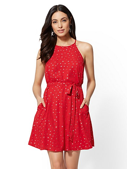 Star-Print Halter Trapeze Dress - New York & Company