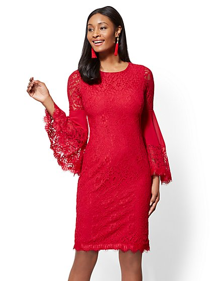 Statement-Sleeve Lace Sheath Dress - New York & Company