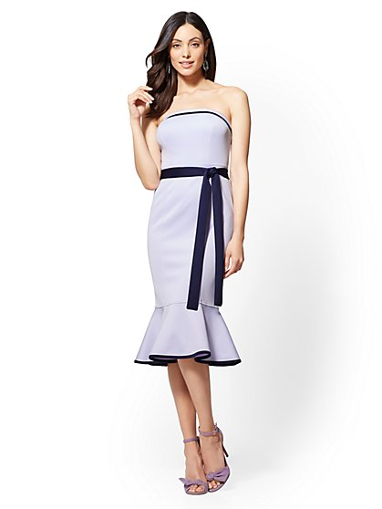Strapless Flounced-Hem Sheath Dress - New York & Company