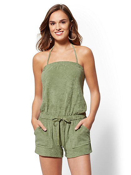 Strapless Terry Romper - New York & Company