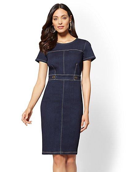 Stretchy Denim Button Accent Sheath Dress – Deep End Blue - New York & Company