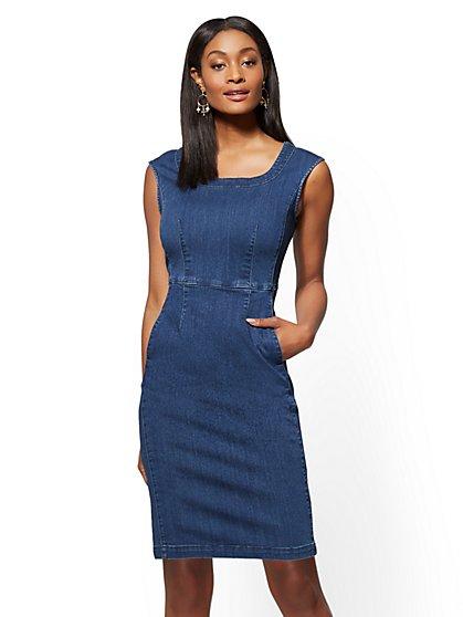 Stretchy Denim Sheath Dress - Force Blue Wash - New York & Company