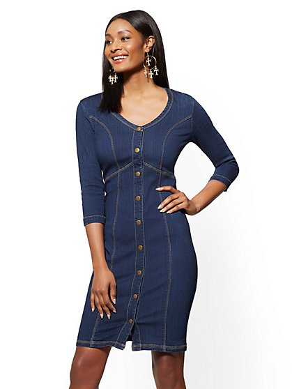Stretchy Denim V-Neck Sheath Dress - Flawless Blue Wash - New York & Company
