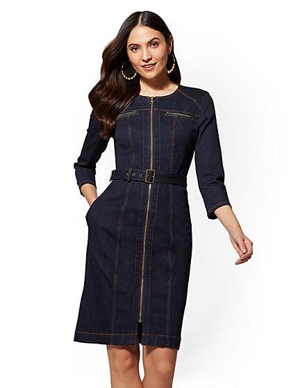 Stretchy Denim Zip-Accent Sheath Dress - Rinse - New York & Company