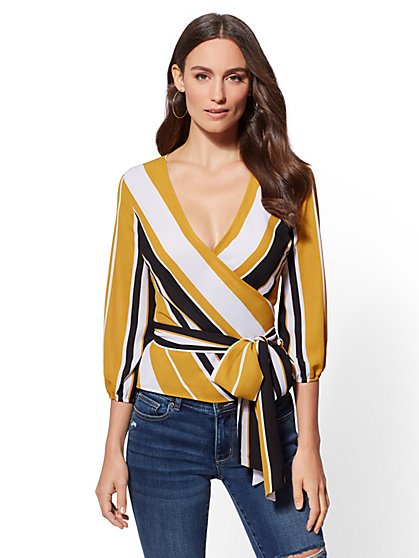 Stripe Belted Wrap Blouse - New York & Company