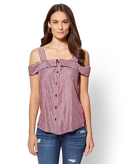 Stripe Cold Shoulder Collar Top - New York & Company