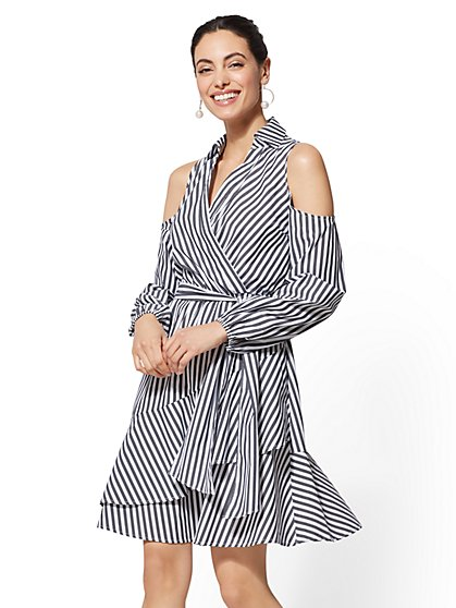 Stripe Cold-Shoulder Wrap Shirtdress - New York & Company