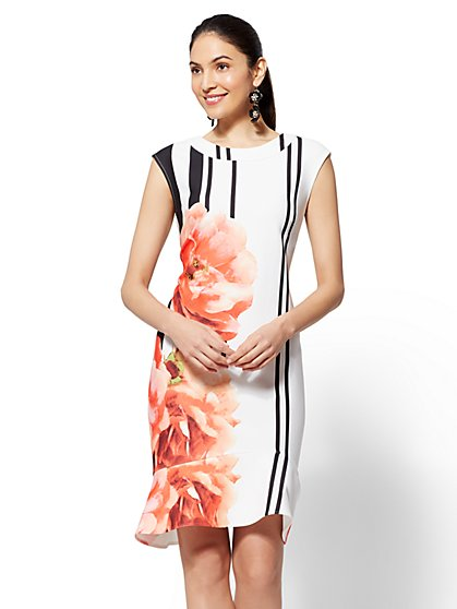 Stripe & Floral Flounced Sheath Dress - New York & Company