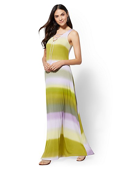 Stripe Lace-Up Maxi Dress - New York & Company
