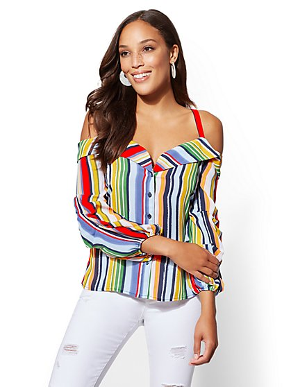 Stripe Off-The-Shoulder Shirt - New York & Company