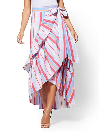 Stripe Ruffle Maxi Skirt - New York & Company