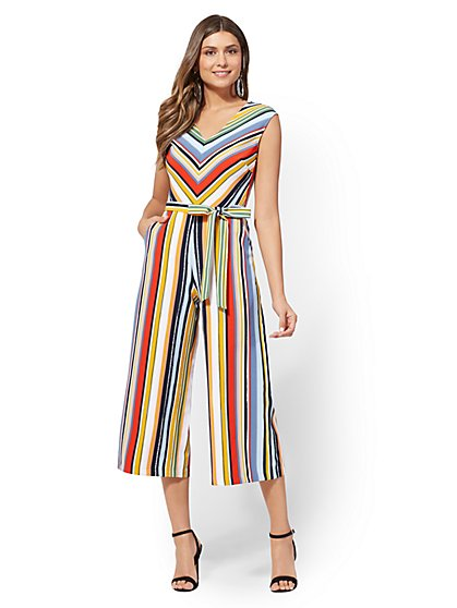Stripe V-Neck Culotte Jumpsuit - New York & Company
