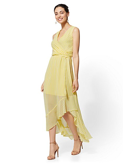 Stripe Wrap Maxi Dress - New York & Company