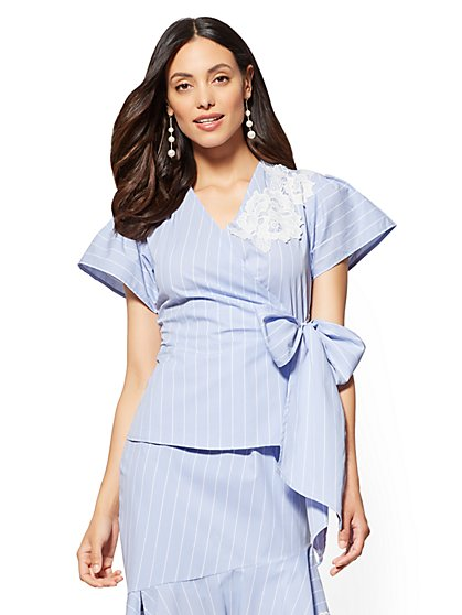 Striped & Appliqued V-Neck Poplin Wrap Shirt - New York & Company