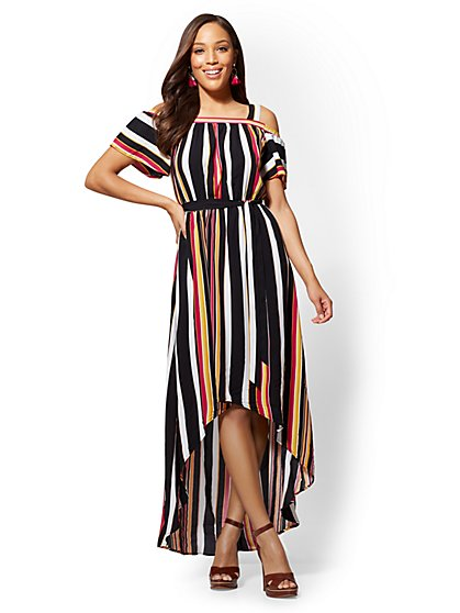 Striped Cold-Shoulder Maxi Dress - New York & Company