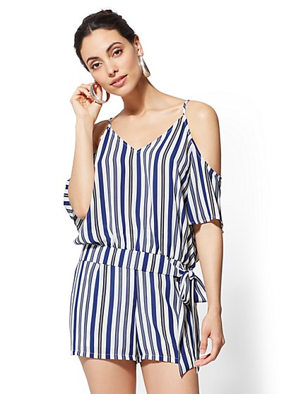 Striped Cold-Shoulder Tie-Front Blouse - New York & Company