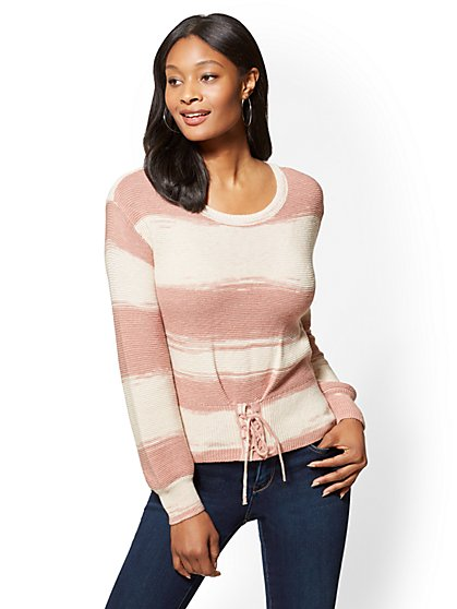 Striped Corset Sweater - New York & Company