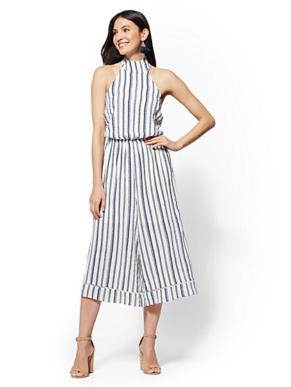Striped Culotte Jumpsuit - New York & Company