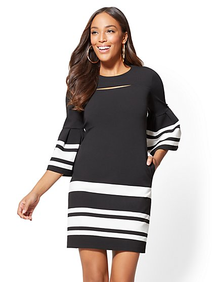 Striped Cutout Bell-Sleeve Shift Dress - New York & Company