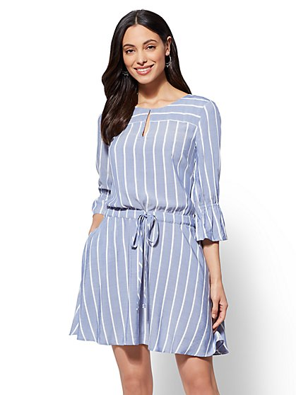 Striped Drawstring-Tie Shift Dress - New York & Company