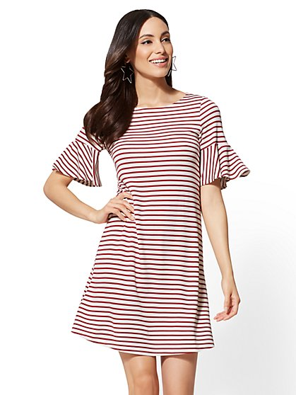 Striped Flare-Sleeve Shift Dress - New York & Company