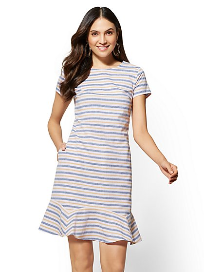 Striped Flounced-Hem Shift Dress - New York & Company