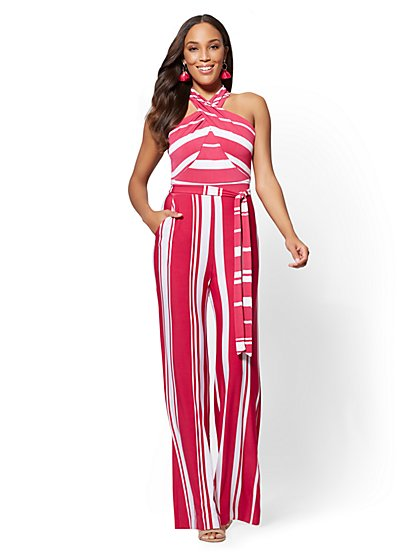 Striped Halter Jumpsuit - New York & Company