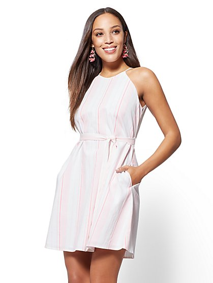 Striped Halter Shift Dress - New York & Company