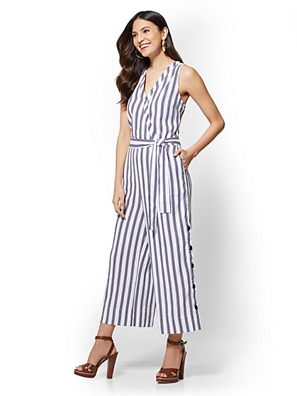 Striped Linen Culotte Wrap Jumpsuit - New York & Company