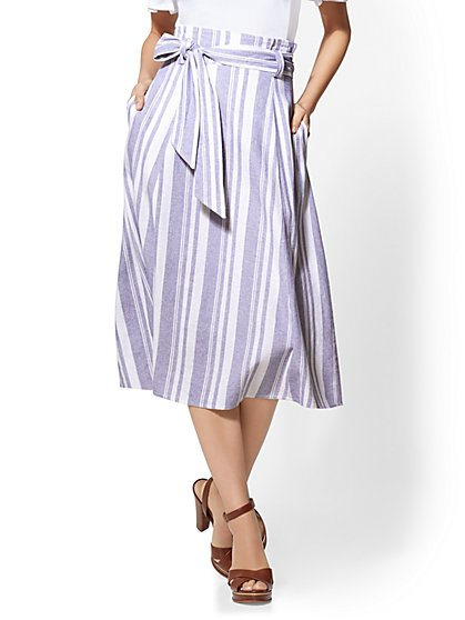 Striped Linen Paperbag-Waist Skirt - New York & Company