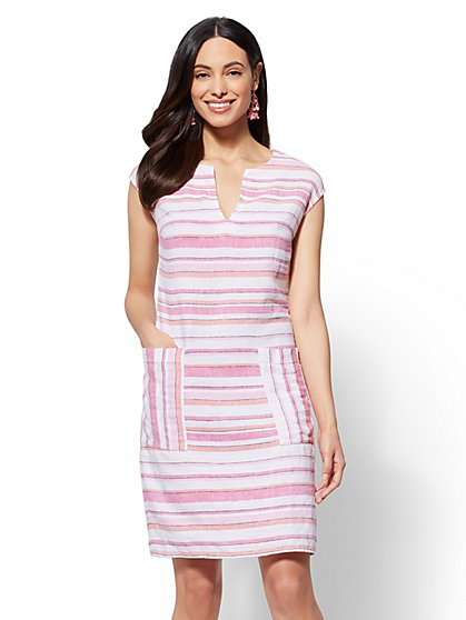Striped Linen Shift Dress - New York & Company