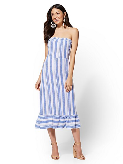 Striped Linen Tie-Back Dress - New York & Company