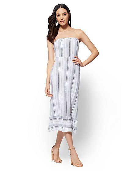 Striped Linen Tie-Back Strapless Dress - New York & Company