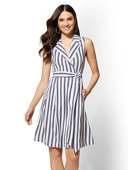 Striped Linen Wrap Shirtdress - New York & Company